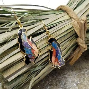 Vintage Cloisonne Earrings Butterfly Earrings